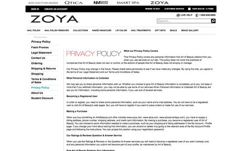 Art of Beauty Privacy Policy