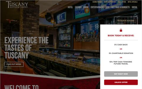 Screenshot of Home Page tuscanylv.com - Tuscany Suites and Casino | Las Vegas Hotel Off the Strip - captured Oct. 18, 2018
