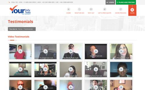 Screenshot of Testimonials Page yourdailytask.com - Video Testimonials   YourDailyTasks   Virtual Assistant Experts - captured Oct. 27, 2017