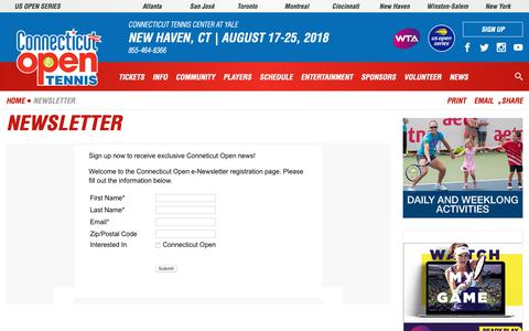 Screenshot of Signup Page ctopen.org - Newsletter   Connecticut Open - captured Sept. 29, 2018