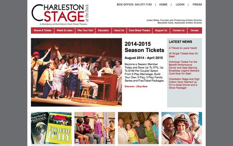 Screenshot of Home Page Site Map Page charlestonstage.com - Home - Charleston Stage - captured Sept. 29, 2014