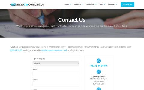Screenshot of Contact Page scrapcarcomparison.co.uk - Get In Contact With Us - captured Oct. 2, 2018