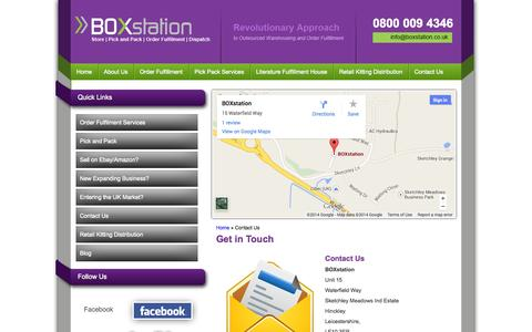 Screenshot of Contact Page boxstation.co.uk - Contact us - BOX station Hinckley, Leicestershire UK - captured Sept. 30, 2014