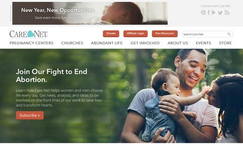 Screenshot of Home Page care-net.org - Care Net Pregnancy Centers   Life Affirming Choices - captured Jan. 26, 2015