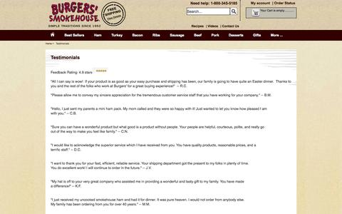Screenshot of Testimonials Page smokehouse.com - Testimonials - Burger's Smokehouse - captured Sept. 23, 2014