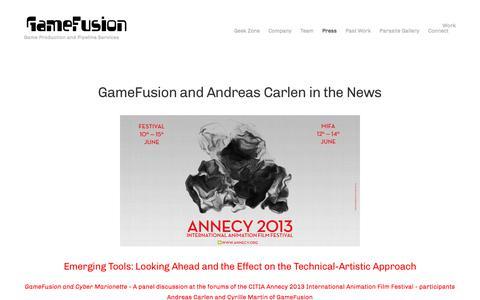 Screenshot of Press Page gamefusion.net - Press — GameFusion - captured July 16, 2018