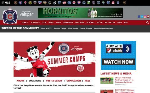 Screenshot of Locations Page chicago-fire.com - Summer Camps | Locations | Chicago Fire - captured Feb. 15, 2017