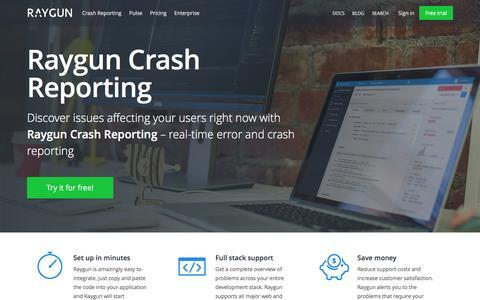 Screenshot of raygun.io - Error & Crash Reporting - for Every Platform | Raygun - captured March 20, 2016