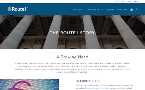 Screenshot of About Page route1.com - Route1 - industry-leading functionality without compromising data - captured Sept. 21, 2018