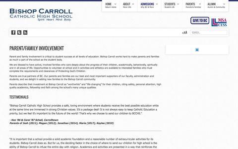 Screenshot of Testimonials Page bishopcarroll.com - Bishop Carroll Catholic High School - Testimonials | Top Private High Schools | Best Prep Schools - captured June 6, 2016