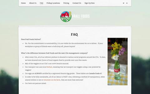 Screenshot of FAQ Page weebly.com - FAQ - Frall Foods - captured Sept. 17, 2014
