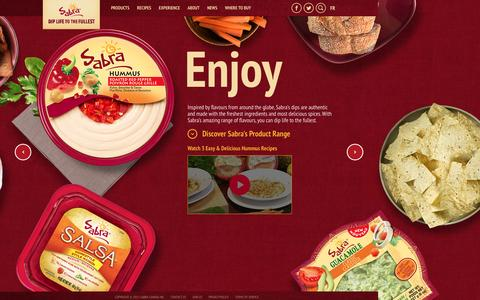 Screenshot of Home Page sabradips.ca - Dip Life to the Fullest | Hummus Dips, Salsa & Guacamole | Sabra Canada - captured March 23, 2016