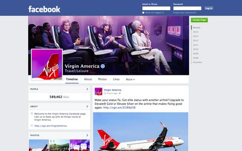 Screenshot of Facebook Page facebook.com - Virgin America   Facebook - captured Oct. 26, 2014