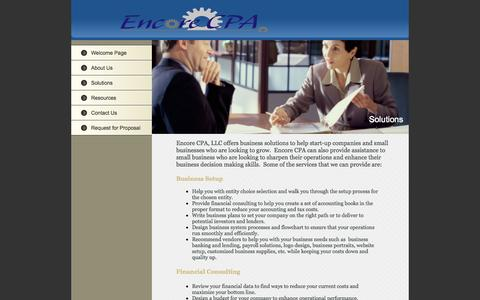 Screenshot of Services Page encorecpa.com - Encore Consulting - Solutions - captured Oct. 2, 2014