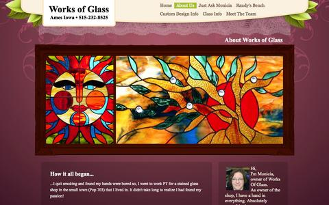 Screenshot of About Page worksofglass.net - About Works of Glass - captured Oct. 10, 2014