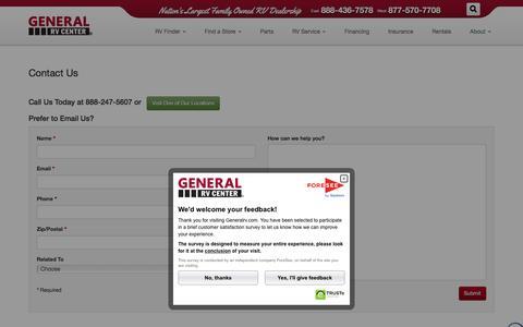 Screenshot of Contact Page generalrv.com - General RV - Contact Us - captured Jan. 27, 2016