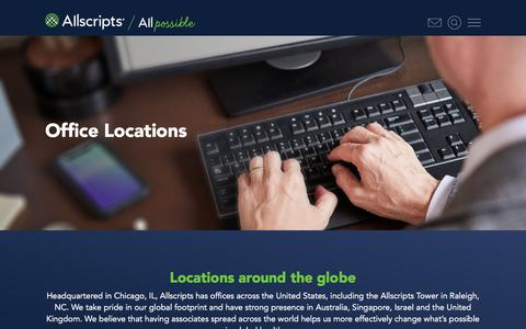 Screenshot of Locations Page allscripts.com - Locations | Allscripts | Changing what's possible in healthcare - captured Aug. 12, 2019
