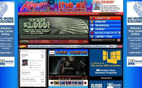 Screenshot of Home Page kiss985.com - Homepage - Kiss 98.5, Buffalo - captured Jan. 26, 2015