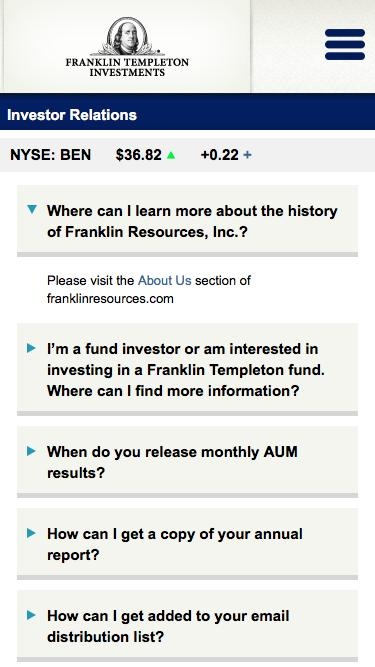 Franklin Resources Inc - Investor Relations - BEN Investor Inquiries - FAQs