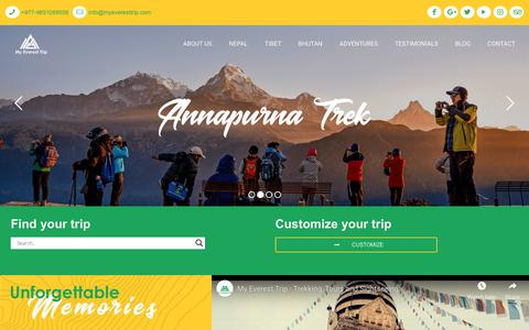 Screenshot of Home Page myeveresttrip.com - My Everest Trip - Treks, Tours and Adventures in Nepal - Trekking, Tours Agency - captured Oct. 18, 2018