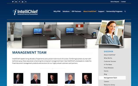Screenshot of Team Page intellichief.com - intellichief About Management Team - captured Nov. 26, 2016