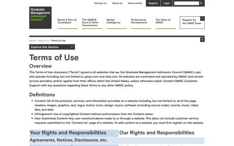 Screenshot of Terms Page gmac.com - Terms of Use - captured Aug. 11, 2017