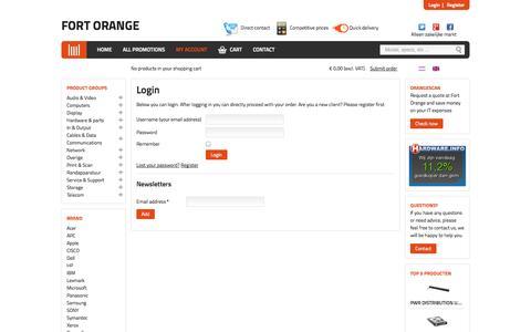 Screenshot of Login Page fortorange.nl - Login   Fort Orange - captured Oct. 27, 2014