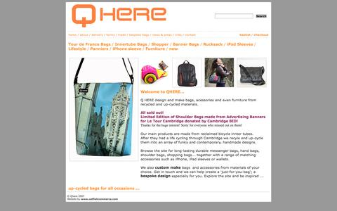 Screenshot of Home Page qhere.net - Handmade funky bags for all occasions – Qhere Cambridge - captured Oct. 1, 2014