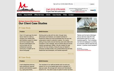 Screenshot of Case Studies Page maoschicago.com - Virtual Assistant Case Studies | Administrative Office Solutions | Office Service Case Studies - captured Oct. 27, 2014