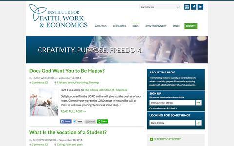 Screenshot of Blog tifwe.org - Blog | Institute for Faith, Work & Economics - captured Sept. 19, 2014