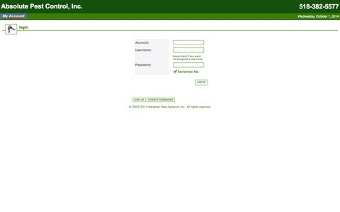 Screenshot of Login Page absolutepest.com - Absolute Pest Control, Inc. - captured Oct. 1, 2014