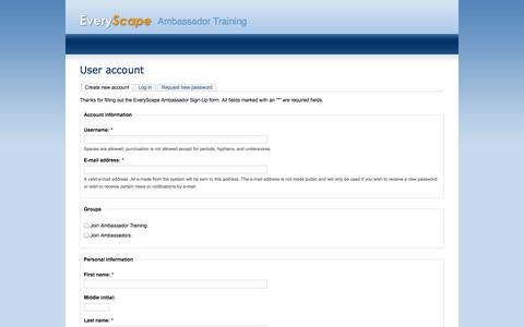 Screenshot of Signup Page everyscape.com - User account | Ambassador Training - captured Sept. 12, 2014