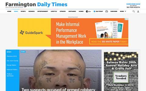 Screenshot of Press Page daily-times.com - News - Farmington Daily Times - captured Oct. 2, 2018