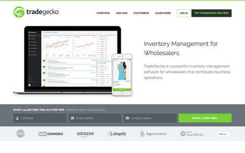 Screenshot of Home Page tradegecko.com - Inventory Management Software | TradeGecko - captured Feb. 13, 2016
