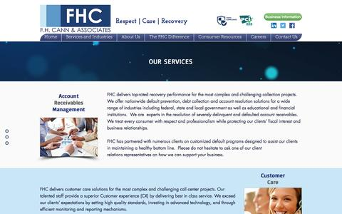 Screenshot of Services Page fhcann.com - F.H. Cann and Associates, Inc.- Collections and Loan resolutions in MA | Our Services - captured Nov. 19, 2016