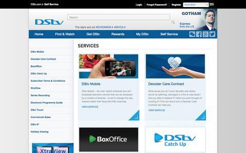 Screenshot of Services Page dstv.com - DStv Self Service | Services - captured Sept. 18, 2014