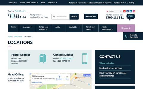 Screenshot of Locations Page senses.org.au - Locations   Senses Australia - captured Oct. 27, 2017