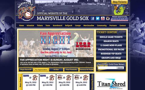 Screenshot of Home Page goldsox.com - Official Website of the Marysville Gold Sox: Home - captured Oct. 6, 2014