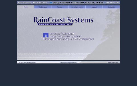 Screenshot of Home Page raincoastsystems.com - RainCoast Systems | Data Storage - The Right Way - captured Sept. 30, 2014