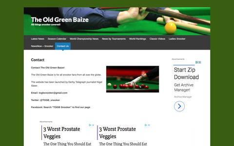 Screenshot of About Page Contact Page theoldgreenbaize.com - Contact | The Old Green Baize - captured Feb. 20, 2018