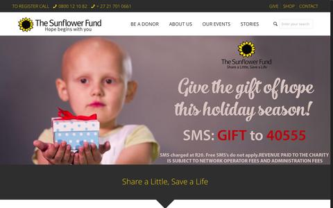 Screenshot of Home Page sunflowerfund.org.za - Home - The Sunflower FundThe Sunflower Fund - captured Jan. 21, 2016