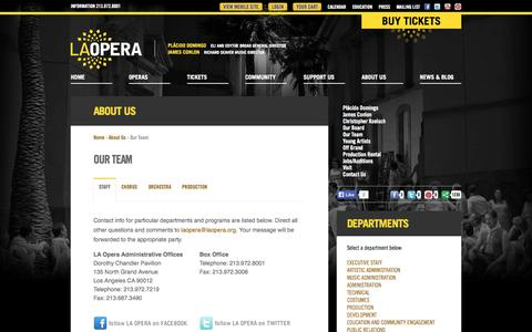 Screenshot of Team Page laopera.org - LA Opera - Company - Our Team - captured Sept. 19, 2014