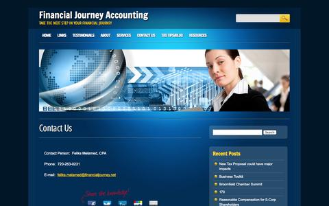 Screenshot of Contact Page financialjourney.net - Financial Journey Accounting  Contact Us | Financial Journey Accounting - captured Oct. 5, 2014