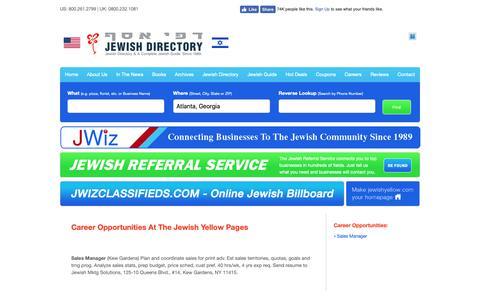 Screenshot of Jobs Page jewishyellow.com - Career Opportunities  - Jewish, Jewish Guide, Jewish Directory, Jewish Classified, Kosher, Kosher Guide - captured Nov. 14, 2018