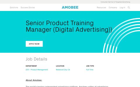 Screenshot of Jobs Page amobee.com - Senior Product Training Manager (Digital Advertising)) — Amobee - captured Nov. 18, 2019