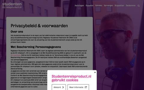 Screenshot of Privacy Page studentenreisproduct.nl - Privacybeleid & voorwaarden - Studentenreisproduct - captured Jan. 20, 2016