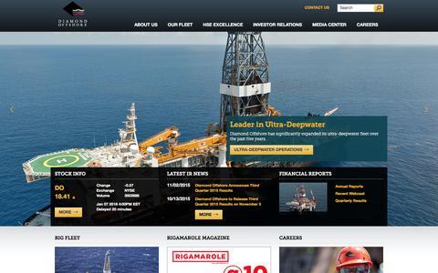 Screenshot of Home Page diamondoffshore.com - Drilling Rigs | Deepwater Drilling | Diamond Offshore Drilling - captured Jan. 7, 2016