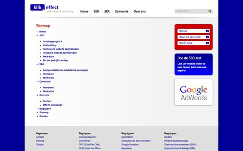 Screenshot of Site Map Page klikeffect-zoekmachinemarketing.nl - Sitemap   Klikeffect Zoekmachine Marketing - captured Sept. 30, 2014