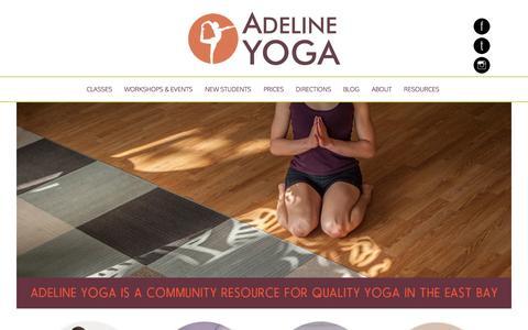Screenshot of Home Page adelineyoga.com - Home - Adeline Yoga Studio - captured Jan. 23, 2015