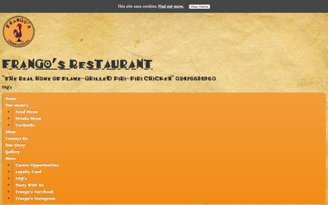 Screenshot of FAQ Page frangos.co - FAQs - Frango's Restaurant - captured Feb. 10, 2016